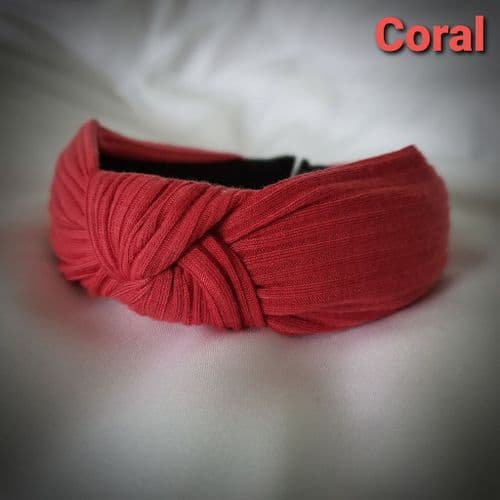 Coral Ribbed Knotted Headband