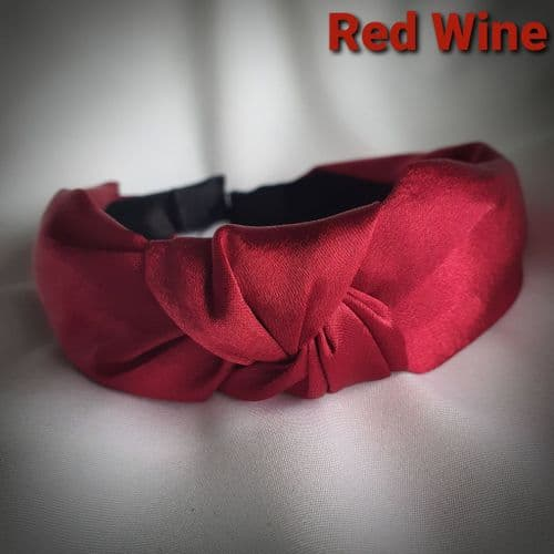 Red Wine Satin Knotted Headband