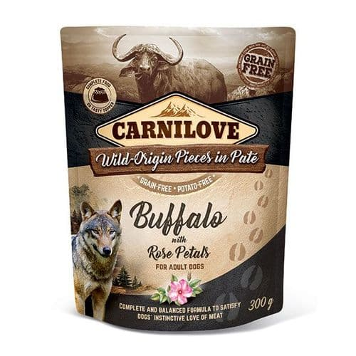 Carnilove Wet Dog Food: Pouch Adult Buffalo with Rose 300g