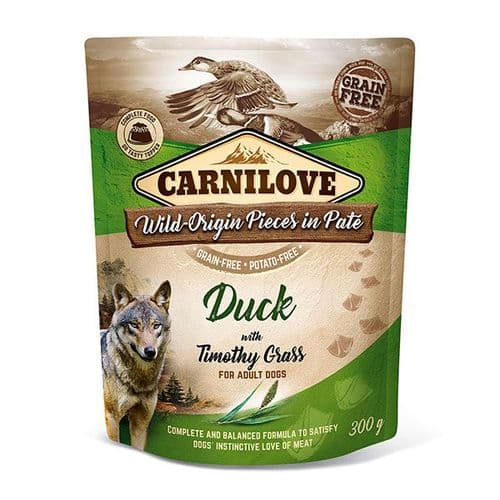 Carnilove Wet Dog Food: Pouch Adult Duck with Timothy Grass 300g