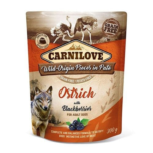 Carnilove Wet Dog Food: Pouch Adult Ostrich with Blackberries 300g