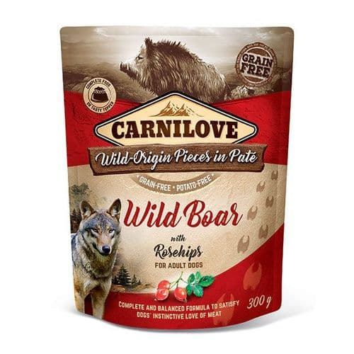 Carnilove Wet Dog Food: Pouch Adult Wild Boar with Rosehips 300g