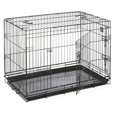 "Dog Life Double Door Dog Crate Medium 30"" Black"