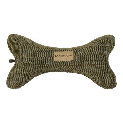 Earthbound Squeaky Bone Toy Tweed Green