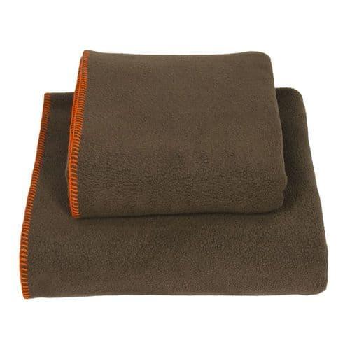 Earthbound Stitched Fleece Blanket Brown and Orange Thread