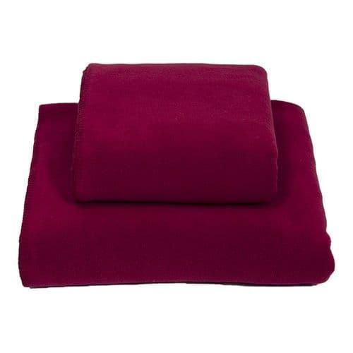 Earthbound Stitched Fleece Blanket Burgundy and Burgundy Thread