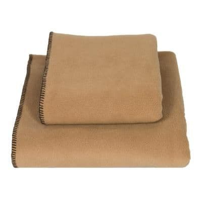 Earthbound Stitched Fleece Blanket Camel and Brown Thread