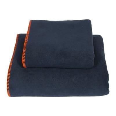 Earthbound Stitched Fleece Blanket Navy and Orange Thread