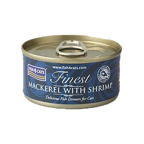 Fish4Cats Wet Food: Mackerel with Shrimp 10x70g