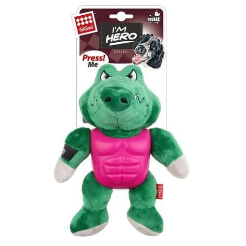 GiGwi I'm Hero TPR Armor Alligator with Squeaker