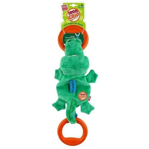GiGwi Iron Grip Crocodile Plush Tug Toy with TPR Handle