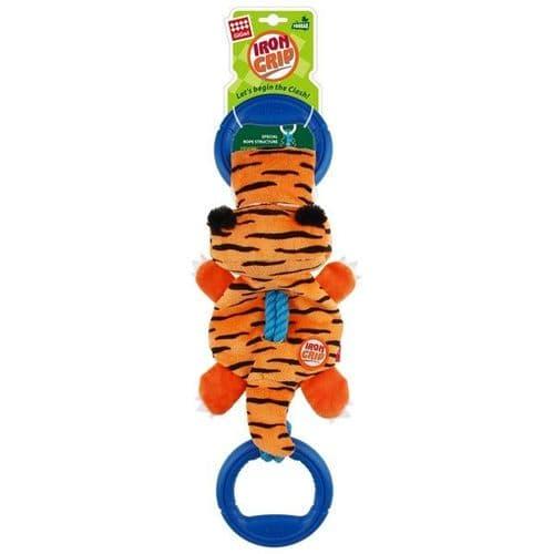 GiGwi Iron Grip Tiger Plush Tug Toy with TPR Handle