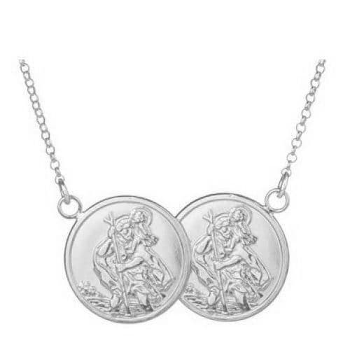 18ct White Gold St Christopher Full Two Coin Holly Necklace