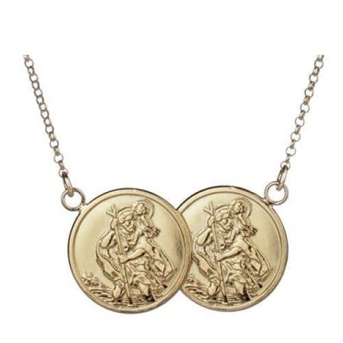 18ct Yellow Gold St Christopher Full Two Coin Holly Necklace