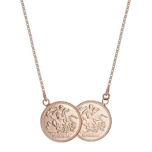 18ct Rose Gold St George Full Two Coin Holly Necklace