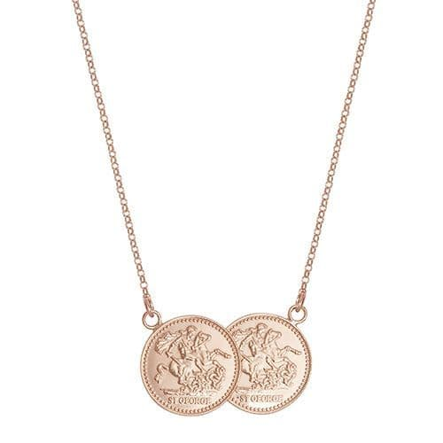 18ct Rose Gold St George Half Two Coin Holly Necklace