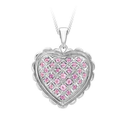 18ct White Gold Pink Sapphire Heart Pendant