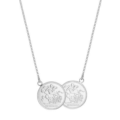 18ct White Gold St George Full Two Coin Holly Necklace