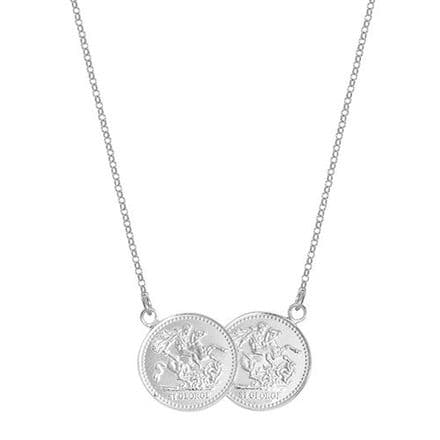 18ct White Gold St George Half Two Coin Holly Necklace