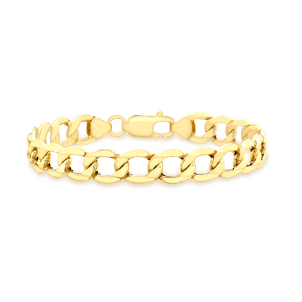 18ct Yellow Gold 8.5 Inch Gents 6 Sided Curb Bracelet