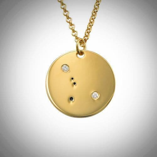 18ct Yellow Gold Plated  Zodiac Cancer Constellation Diamond Necklace