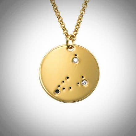 18ct Yellow Gold Plated Zodiac Capricorn  Constellation Diamond Necklace