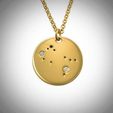 18ct Yellow Gold Plated Zodiac Gemini Constellation Diamond Necklace