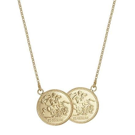 18ct Yellow Gold St George Full Two Coin Holly Necklace