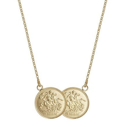 18ct Yellow Gold St George Half Two Coin Holly Necklace