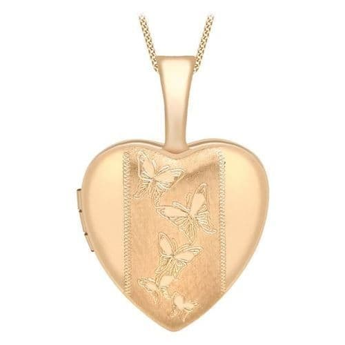 9ct Rose Gold 12mm Etched Butterfly Detail Heart Locket