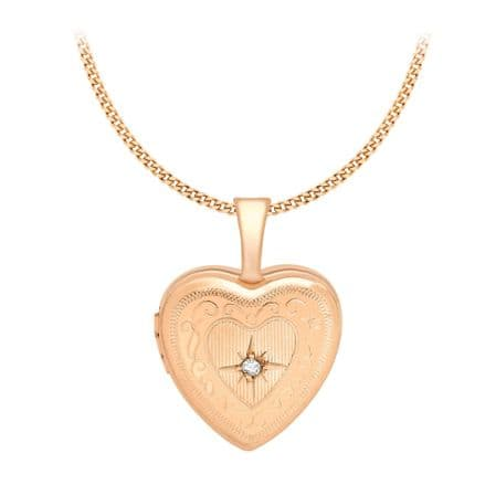 9ct Rose Gold 18mm Diamond Set Etched Heart Locket