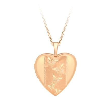 9ct Rose Gold 20mm Etched Butterfly Detail Heart Locket