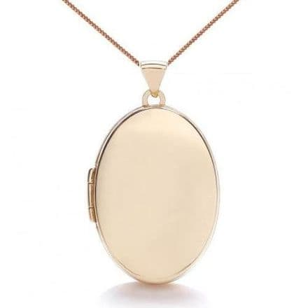 9ct Rose Gold 25mm Plain Oval Locket