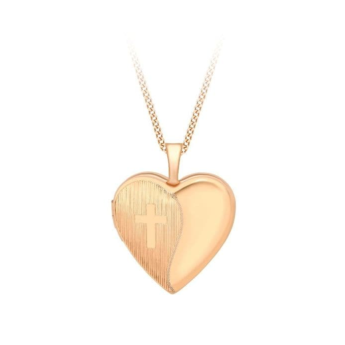 9ct Rose Gold Etched Cross Detail Heart Locket