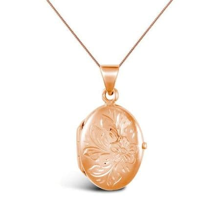 9ct Rose Gold Flower Design Oval Locket