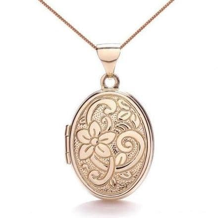 9ct Rose Gold Oval Flower Locket