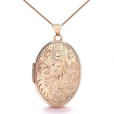 9ct Rose Gold Oval Swirl Engraved Locket