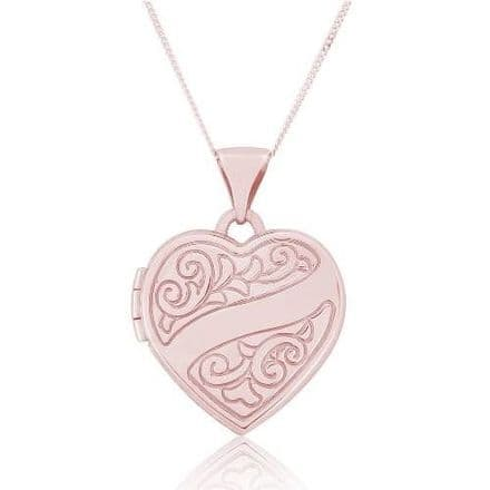 9ct Rose Gold Patterned Heart Locket