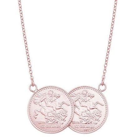 9ct Rose Gold St George Full Two Coin Holly Necklace