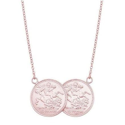 9ct Rose Gold St George Half Two Coin Holly Necklace