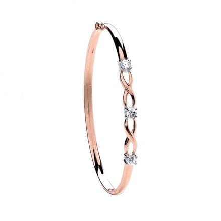 9ct Rose Gold Three Cubic Zirconia Claw Set Bangle