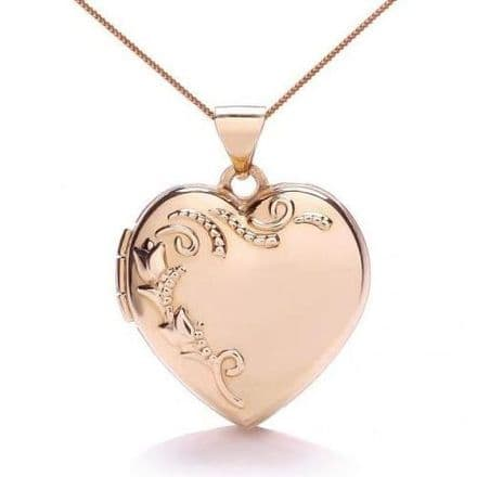 9ct Rose Gold Tulip Patterned Heart Locket