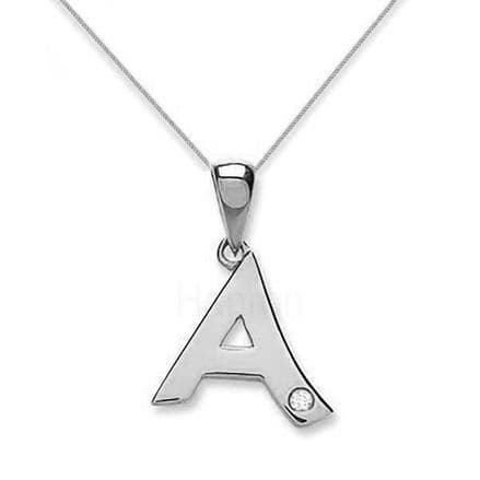 9ct White Gold 0.01ct Diamond Initial Pendant