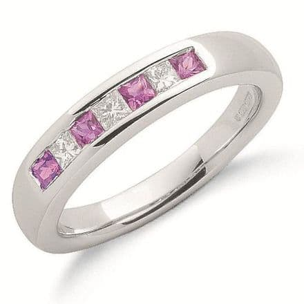 9ct White Gold 0.20ct Diamond & 0.30ct Pink Sapphire Eternity Ring