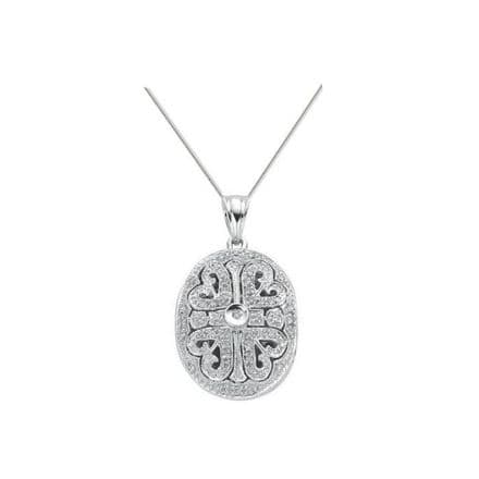 9ct White Gold 0.31ct Diamond Locket Pendant