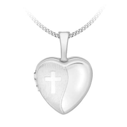 9ct White Gold 18mm Etched Cross Detail Heart Locket