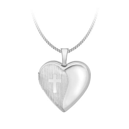 9ct White Gold 25mm Etched Cross Detail Heart Locket