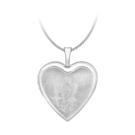 9ct White Gold 25mm Etched St Christopher Heart Locket