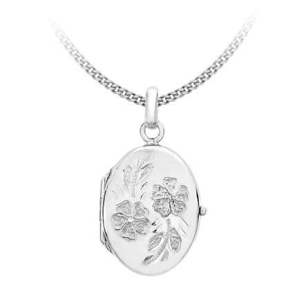 9ct White Gold 28mm Daisy Oval Locket