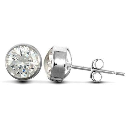 9ct White Gold 6mm Rubover Set Cubic Zirconia Stud Earrings